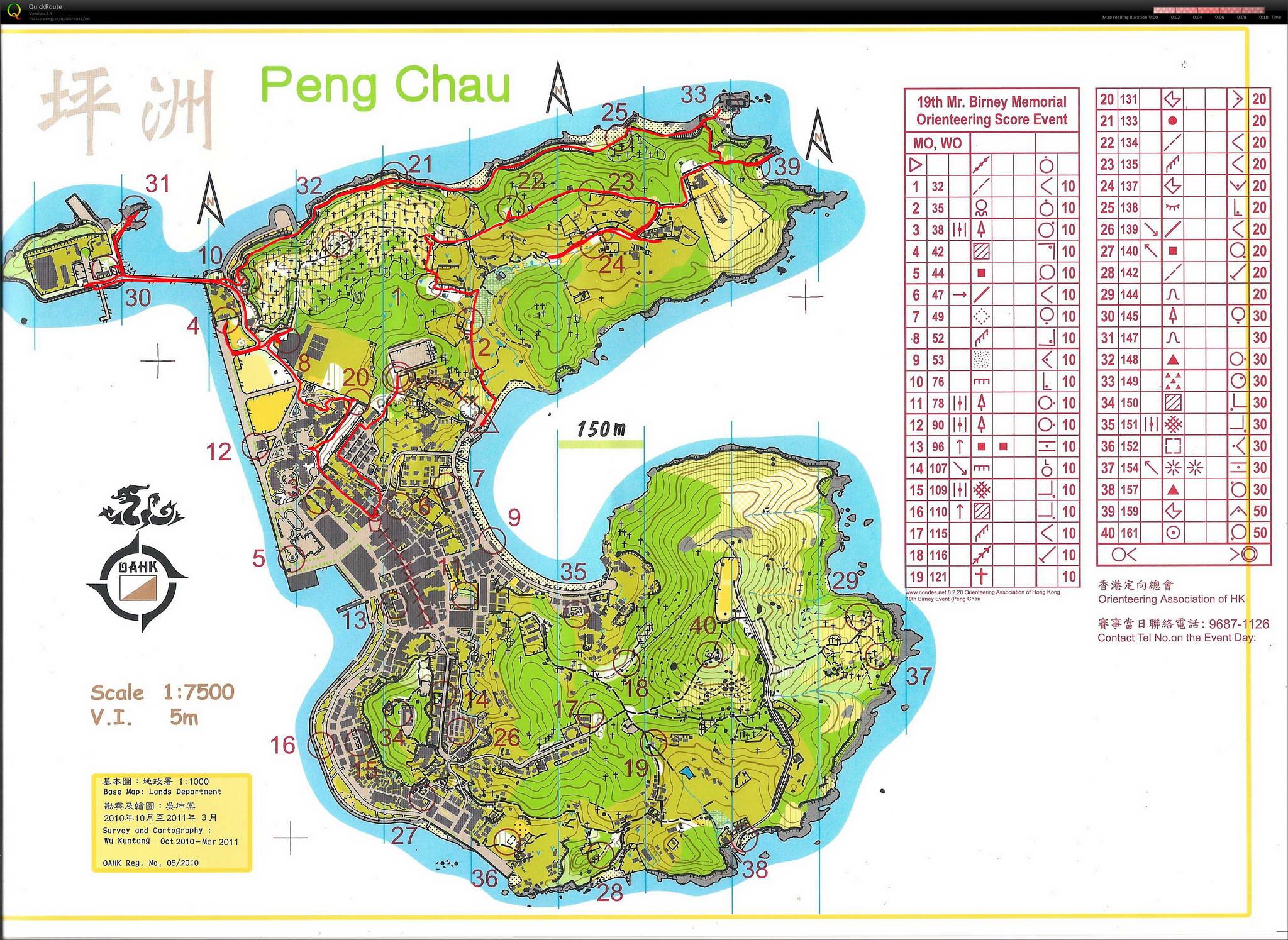 Peng Chau orienteering map