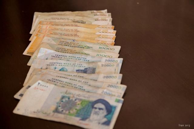 伊朗Rial,每張面額很大,但幣值很少
