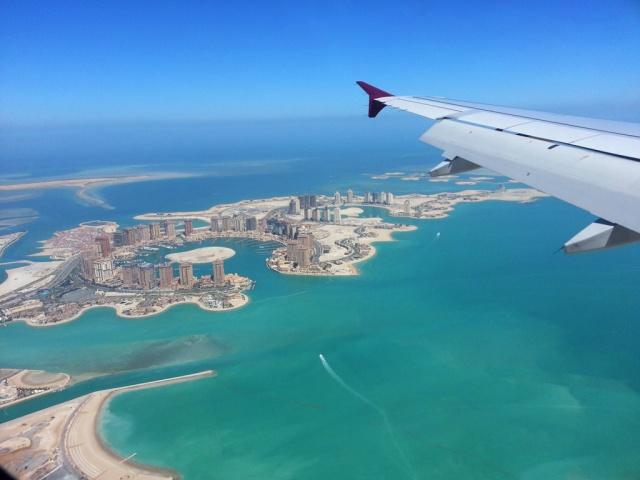 飛機上看到美麗的人工島