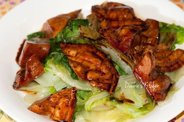 紅燒鮑魚角伴唐生菜