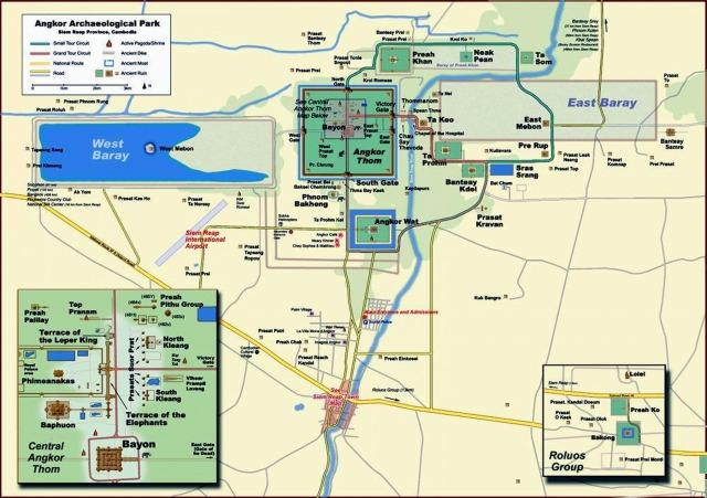 Map of Angkor Thom & Angkor Wat