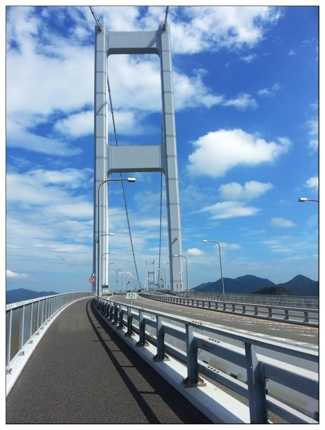 來島海峽大橋自行車道上