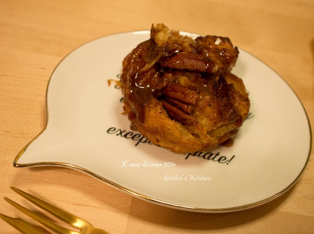 Mini bread pudding with butter toasted pecan, brown sugar brandy sauce