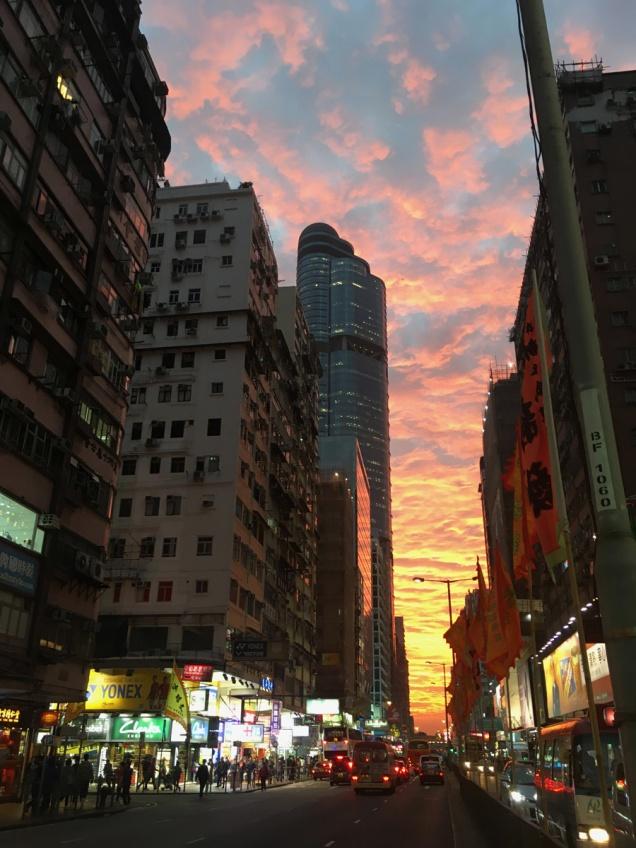 市區的日落